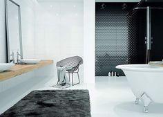 Kolekcja Odeon, nowoczesna łazienka utrzymana w bieli i czerni dekoracje o pięknej geometrycznej fakturze nadają wnętrzu elegancji  Bathroom   tiles   plytki   ceramika   color   lazienka   home   dekoracja wnętrz   desing   wnetrze   interior