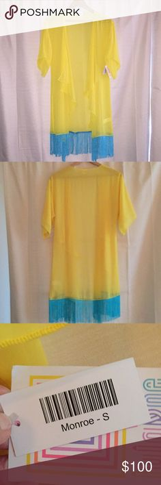 LuLaRoe Monroe Kimono, Size Small NWT These colors make a sassy beach 🏖 cover up!  Bright and beautiful, NEW WITH TAGS ATTACHED. LuLaRoe has discontinued the Monroe Kimono. Get this one while you can! Small fits 0-12💕👍🏻 LuLaRoe Other