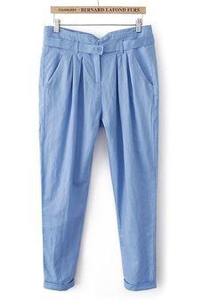 ++ Light Blue Button Fly Belt Linen Cotton Pants