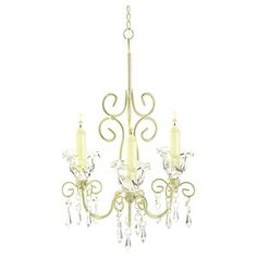 Iron & Acrylic Rococo 3-Light Crystal Chandelier