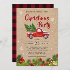 Christmas Truck A Merry Little Christmas Party Invitation Christmas Ships, Christmas Truck, Merry Little Christmas, Plaid Christmas, Christmas Art, Family Christmas, Reindeer Christmas, Christmas Presents, Holiday Cards