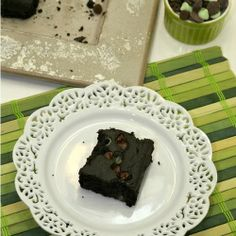A delicious, healthy, fudgy brownie with mint chocolate chips and made with black beans