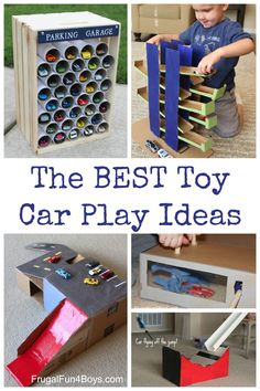 Simple things to make for toy cars out of cardboard boxes, etc. Love these play ideas for Hot Wheels or Matchbox cars! Paper Crafting umfasst eine breite S Matchbox Car Storage, Matchbox Cars, Kids Storage, Toy Storage, Storage Ideas, Cool Diy, Toys For Boys, Kids Toys, Baby Toys