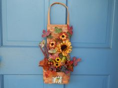 Fall+Floral+Wicker+Basket+Wall+&+Door+Hanging+Arrangement+by+2lewa
