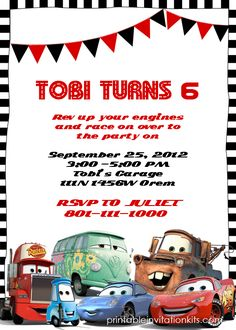 Cars Birthday Invitation Template http://printableinvitationkits.com/disney-cars-birthday-invitation/