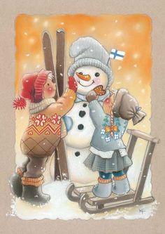 Kaarina Toivanen ~ We Will Build a Snowman Christmas Clipart, Christmas Snowman, Winter Christmas, Vintage Christmas, Christmas Ornaments, Xmas, Illustration Noel, Christmas Illustration, Frosty The Snowmen