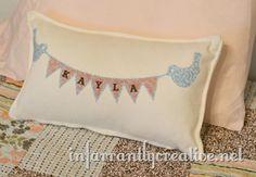 Bird and Banner Pillow