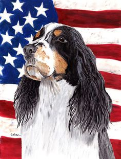USA American Flag with Springer Spaniel Flag Canvas House Size