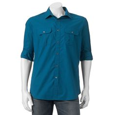 Men's Apt. 9® Slim-Fit Roll-Tab Button-Down Shirt, Size: