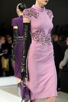 Lavender cap sleeve high neck embellished fitted dress - Bottega Veneta
