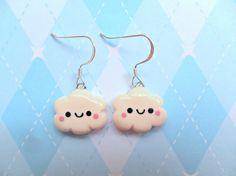 Kawaii Cloud Earrings Polymer Clay Cute Earrings by JollyCharms, $8.00
