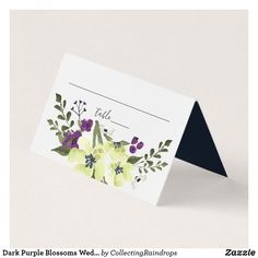 Shop Dark Purple Blossoms Wedding Place Card created by CollectingRaindrops. Wedding Places, Wedding Place Cards, Wedding Reception Decorations, Wedding Table, Wedding Bride, Bride Groom, Blossom Flower, Dark Purple, Purple Flowers