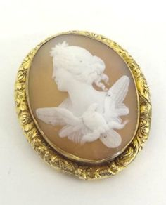 Classical Cameo Brooch Depicting Greek Goddess Eos With Her Eagle, Mounted In Gilt Metal