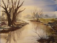 Watercolour painting demo of a simple river scene - YouTube