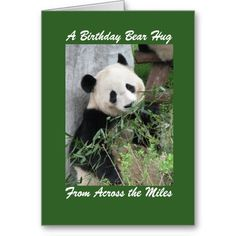 "SOLD! Panda Birthday Greeting Card, a Birthday Bear Hug Across the Miles - This card is part of our ""panda"" collection, which also includes kindle covers, iPad cases, small jewelry boxes, and other gifts. You can customize the card and the matching products. A super way to wish someone ""happy birthday"" from ""across the miles"". See matching products and additional designs at www.zazzle.com/SocolikCardShop*.  All Rights Reserved © 2013 Alan & Marcia Socolik."