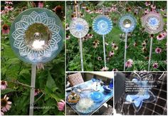 Garden Art Plate Flowers made using cutlery and dinner plates