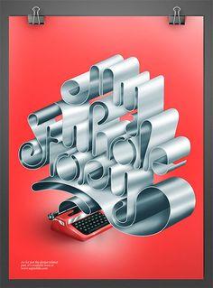 タイプライターの紙が踊っているようなタイポグラフィー。