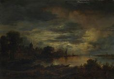 A Village by a River in Moonlight Aert van der Neer Oil on oak, 19.7 x 28.3 cm circa 1645