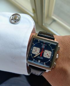 [Tag Heuer Monaco] Stole my wifes watch this business trip Amazing Watches, Beautiful Watches, Cool Watches, Watches For Men, Burberry Men, Gucci Men, Tag Heuer Automatic, Tag Watches, Tag Heuer Monaco