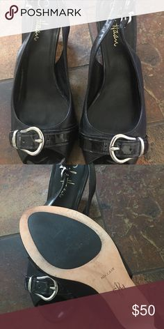 Cole Haan Peep Toe Heels Must have Cole Haan black peep toe heels with Nike Air! These shoes are amazing and comfortable! One of the few heels left that have Nike air which definitely makes a difference comfort wise. These are gently worn(see pics). Cole Haan Shoes Heels