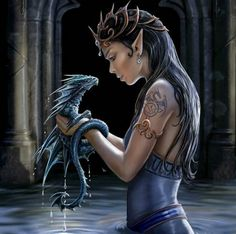 Elven princess with a water dragon.