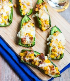 Spice up your Super Bowl snacking with these Corn and Cheddar Stuffed Jalapenos!