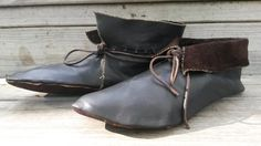 Hedeby-style shoes, waterproofed with beeswax and walnut oil.