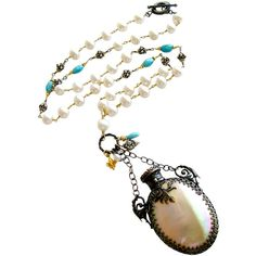 Pre-owned Mother of Pearl Chatelaine Scent Bottle Pearls Turquoise... ($650) ❤ liked on Polyvore featuring jewelry, necklaces, beaded necklaces, long necklace, pendants & necklaces, pearl pendant necklace, charm necklace and long pearl necklace
