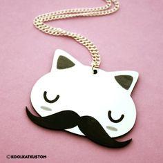 EARL Kette Katze Schnurrbart Mustache Bart Kitty Trash | eBay
