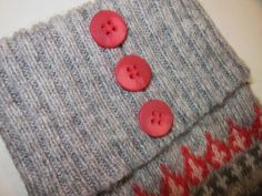 I like the button idea! Boot socks from an old sweater