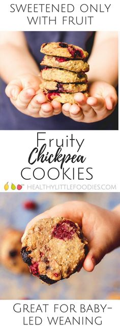 Fruity chickpea cookies - healthy cookies made from chickpeas, chia seeds and fruit. No refined sugar. Dairy free. Sweetened only with fruit.