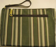 Estee Lauder Striped Cosmetic Bag, Fabric Lining, Side Zipper Pocket. #EsteLauder