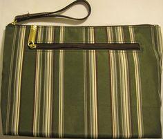 Estee Lauder Striped Cosmetic Bag, Fabric Lining, Side Zipper Pocket. #EsteLauder