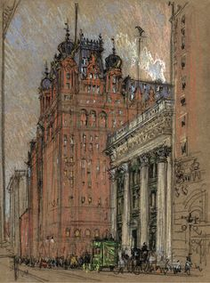 Joseph Pennell, Waldorf Astoria Hotel, Thirty-Fourth Street and Fifth Avenue (original location), 1904-1908. Drawing on brown paper: colored crayons over pencil sketch.