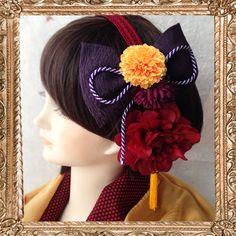 ハンドメイドマーケット+minne(ミンネ)|+成人式 髪飾り 和装 大正ロマン はいからさんの夢見るカチューシャ