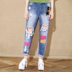 Elf Sack Women Boyfriends Distressed Harem Ripped Ankle Length Jeans| elfsack