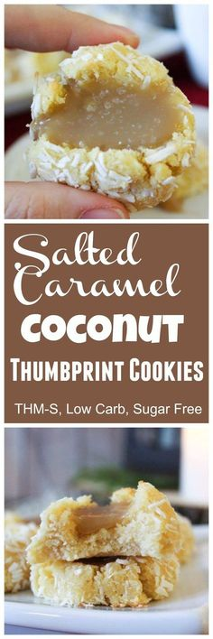 The Big Diabetes Lie Recipes-Diet - Salted Caramel Coconut Thumbprint Cookies (THM-S, Sugar Free, Low Carb) - Doctors at the International Council for Truth in Medicine are revealing the truth about diabetes that has been suppressed for over 21 years. Sugar Free Desserts, Sugar Free Recipes, Dessert Recipes, Keto Desserts, Low Carb Deserts, Low Carb Sweets, Keto Cookies, Coconut Cookies, Coconut Flour