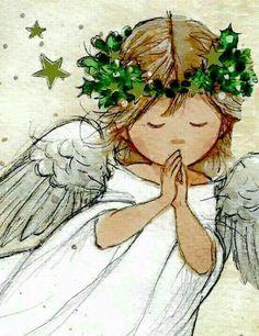 Anjo do Natal Christmas Angels, Christmas Art, Watercolor Cards, Watercolor Paintings, Angel Paintings, Illustration Noel, I Believe In Angels, Angel Pictures, Christmas Paintings