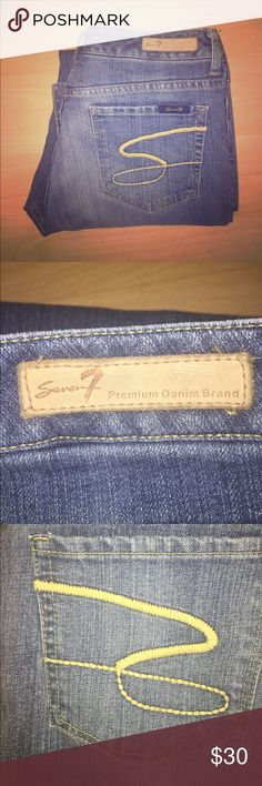"""Seven7 Jeans Size 31 Seven 7 Jeans Size 31 •Style """"Flare"""". •Medium wash.  •Size 31, 12. Inseam 29"""", Front Rise 9"""", Waist 34"""".  •76% Cotton, 23% Polyester, 1% Elastane. •Great condition. Seven7 Jeans Flare & Wide Leg"""