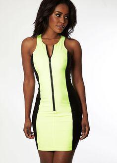 Neon Green & Black Scuba Dress #neon #dress www.loveitsomuch.com
