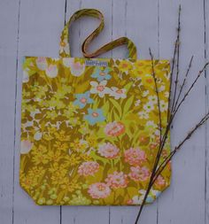 fresh fall floral tote bags handcrafted from repurposed materials and reversible.slow fashion at its finest, for all your carryables Floral Tote Bags, Vintage Love, Slow Fashion, Repurposed, Fresh, Create, Fall, Autumn, Upcycling