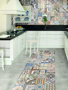 Zellij Patchwork Tiles from Walls and Floors. Love the floor not too crazy for the matching wall.