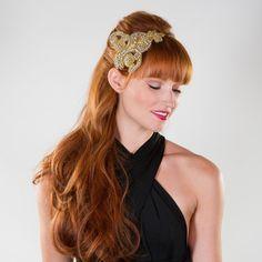 Bridal Headband with Gold Rhinestone Baroque by prestonandolivia, $115.00