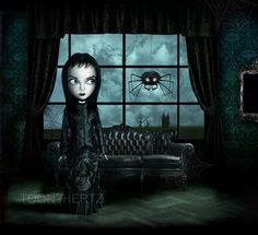 Art   Toon Hertz. Goth girl with spider at the window.