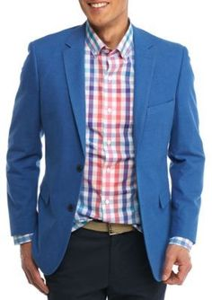 Crown  Ivy  Blue Solid Classic-Fit  Motion Stretch Blue Textured Sport Coat
