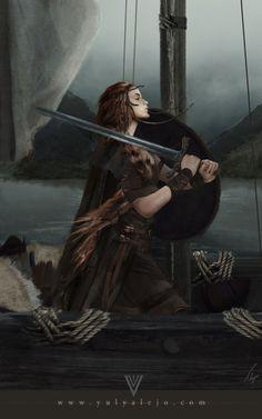Drakkar Shieldmaiden, by Yuly Aalejo