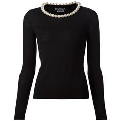 Boutique Moschino Embellished Pearl Collar Sweater ($475) ❤ liked on Polyvore featuring tops, sweaters, black, embellished sweater, black sweater, black embellished top, embellished tops and black top