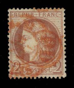 TYPE CÉRÈS - 1874 - N°51 2c ROUGE-BRUN OBL CAD PD ROUGE DES IMPRIMÉS DE PARIS