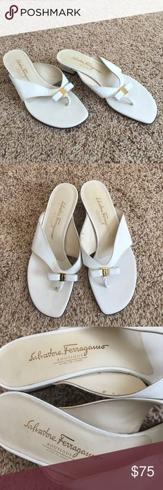 Authentic Salvatore Ferragamo Leather Sandals Authentic! GORGEOUS 💕 Don't miss these beautiful leather sandals from Salvatore Ferragamo💕 Size 7 1/2 and very comfortable! Used and in good condition (marks/scratches) NO TRADE ❌ Salvatore Ferragamo Shoes