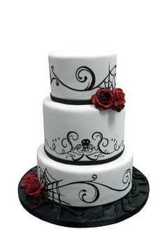 halloween wedding cake images | Halloween Themed Traditional Wedding Cake with purple flowers instead of red